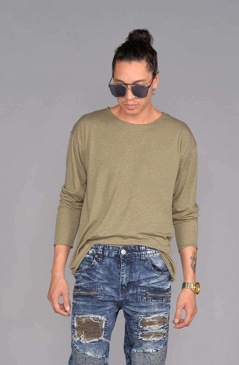 Long Sleeve Raw Hem Tee (Olive) - MEN TOPS - NIGEL MARK