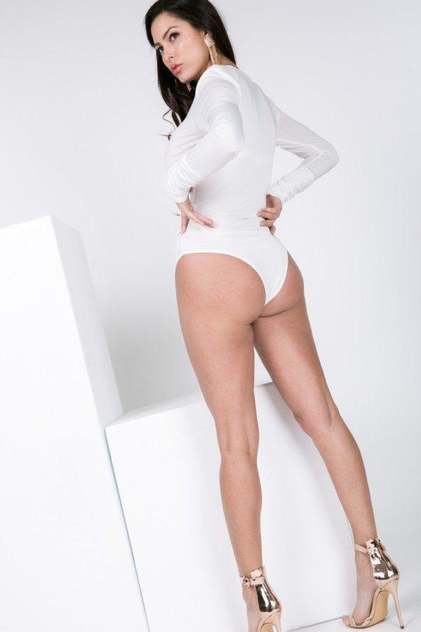 Long Sleeve Shirred Detail Surplice Bodysuit - NIGEL MARK