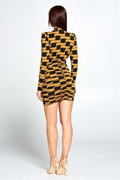 Long Sleeve Tie Mini Dress - DRESSES - NIGEL MARK