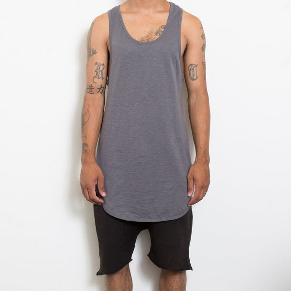 Longline Scallop Tank - Gray - Tank Tops - NIGEL MARK
