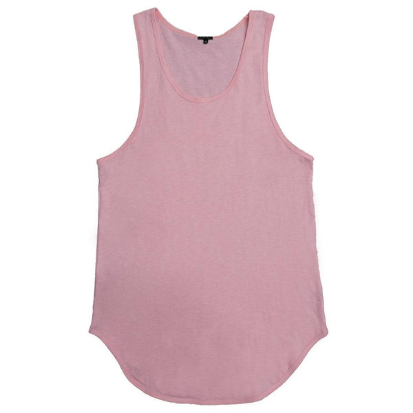 Longline Scallop Tank - Pink - Tank Tops - NIGEL MARK