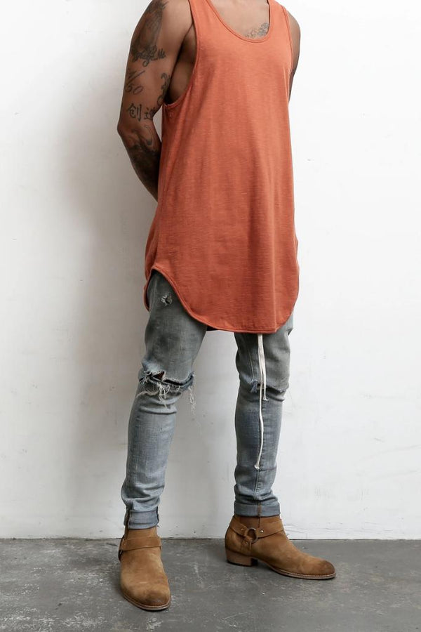 Longline Scallop Tank - Rust - Tank Tops - NIGEL MARK
