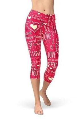 Love Hearts Red Capri Leggings - BOTTOMS - NIGEL MARK