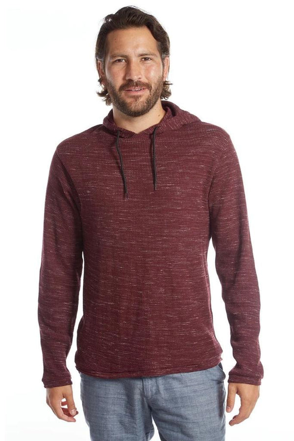 Maroon Waffle Pullover Hoodie - Men's Clothing - NIGEL MARK
