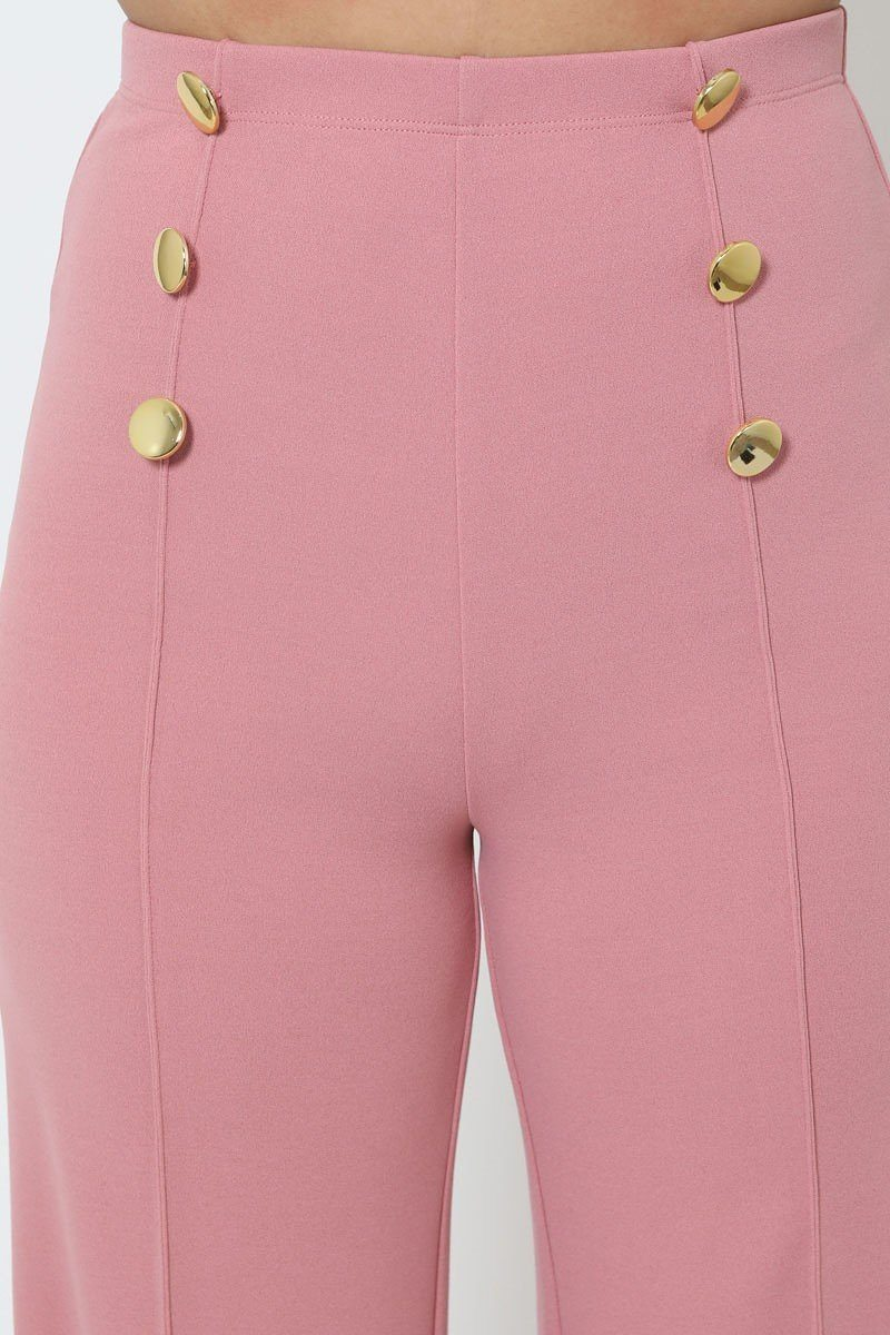 Mauve High-waist Pants - WOMEN BOTTOMS - NIGEL MARK