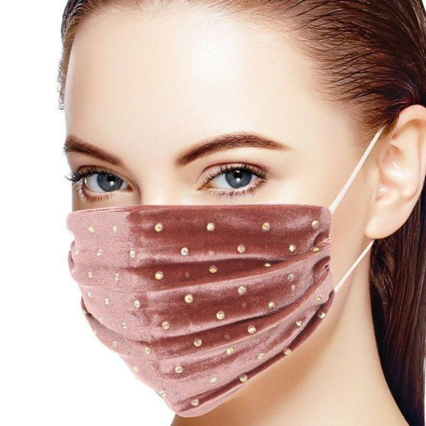 Mauve Iridescent Rhinestone Face Mask - BEAUTY & WELLNESS - NIGEL MARK