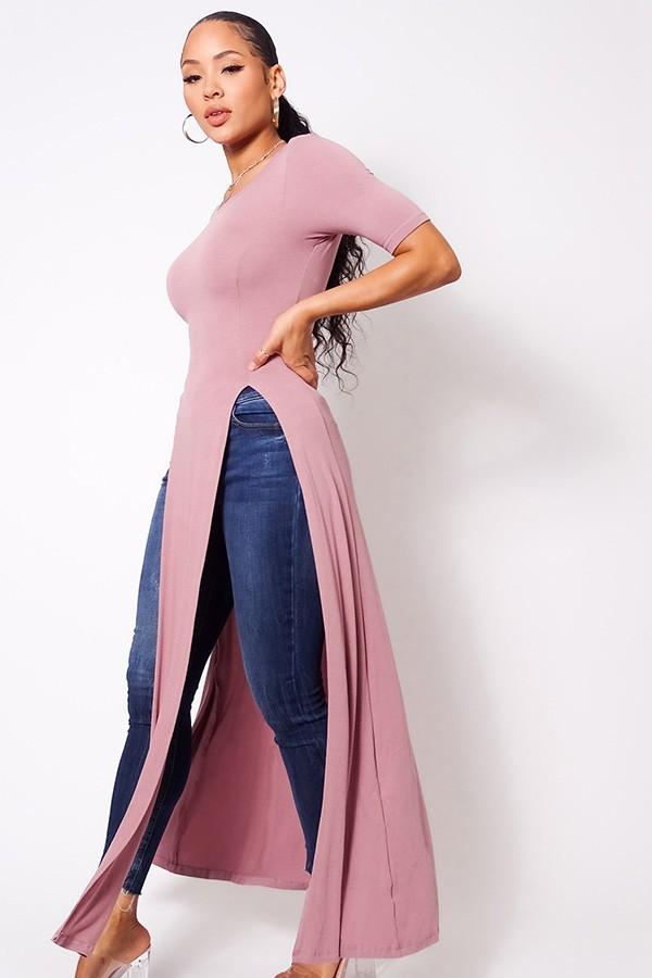 Maxi Tank Top With Side Slits - Mauve - WOMEN TOPS - NIGEL MARK