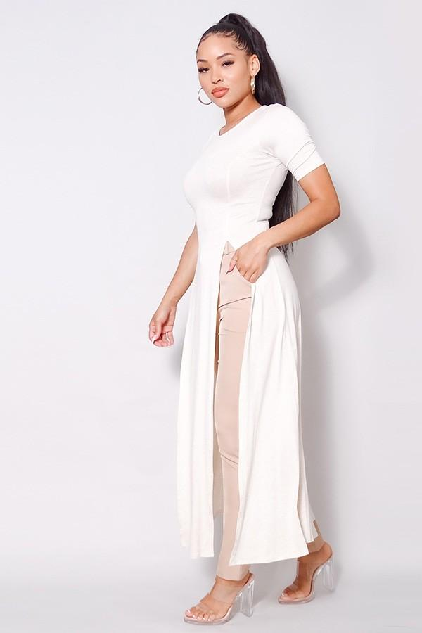Maxi Tank Top With Side Slits - Oatmeal - WOMEN TOPS - NIGEL MARK