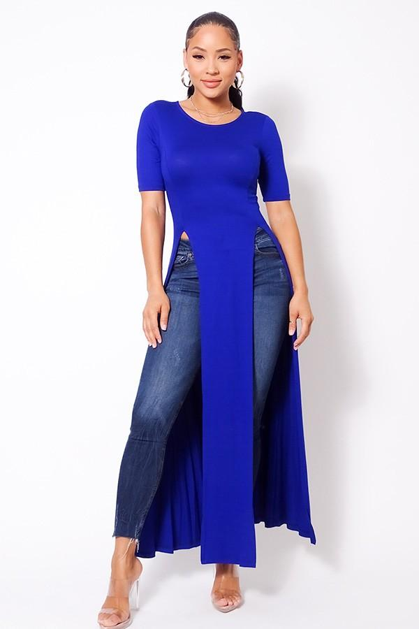 Maxi Tank Top With Side Slits - Royal - WOMEN TOPS - NIGEL MARK