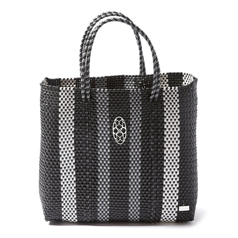 MEDIUM BLACK STRIPE TOTE BAG - ACCESSORIES - NIGEL MARK
