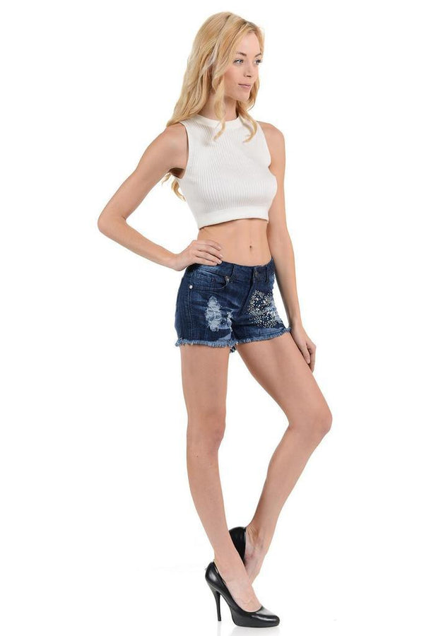 Medium Mid Waist Denim Shorts - WOMEN BOTTOMS - NIGEL MARK