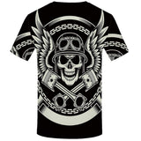 Men Black Skull Hip Hop Casual Gothic 3d Printed Tshirt - MEN TOPS - NIGEL MARK