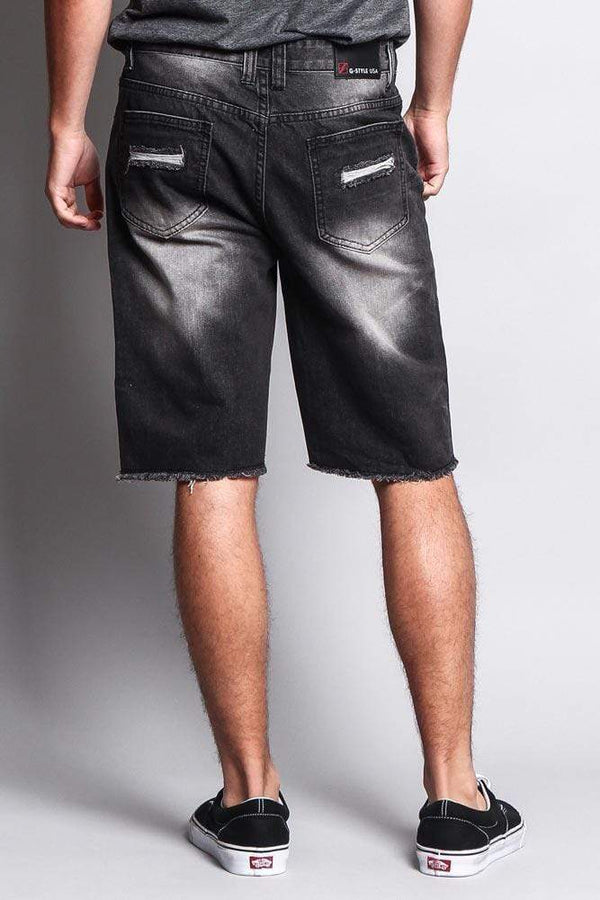 Men's Faded Distressed Shorts - Black - MEN SHORTS - NIGEL MARK