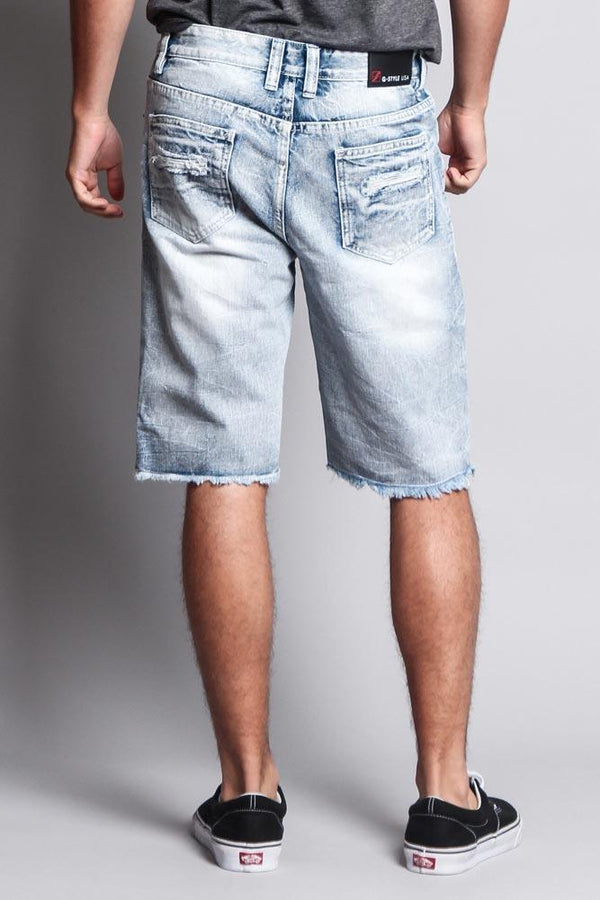 Men's Faded Distressed Shorts - Ice - MEN SHORTS - NIGEL MARK