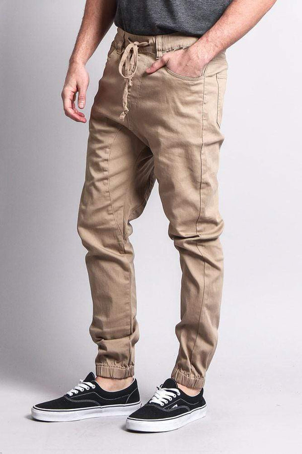 Men's Jogger Twill Pants - Khaki - MEN BOTTOMS - NIGEL MARK