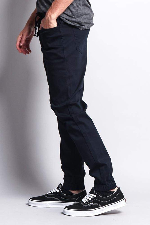 Men's Jogger Twill Pants - Navy - MEN BOTTOMS - NIGEL MARK