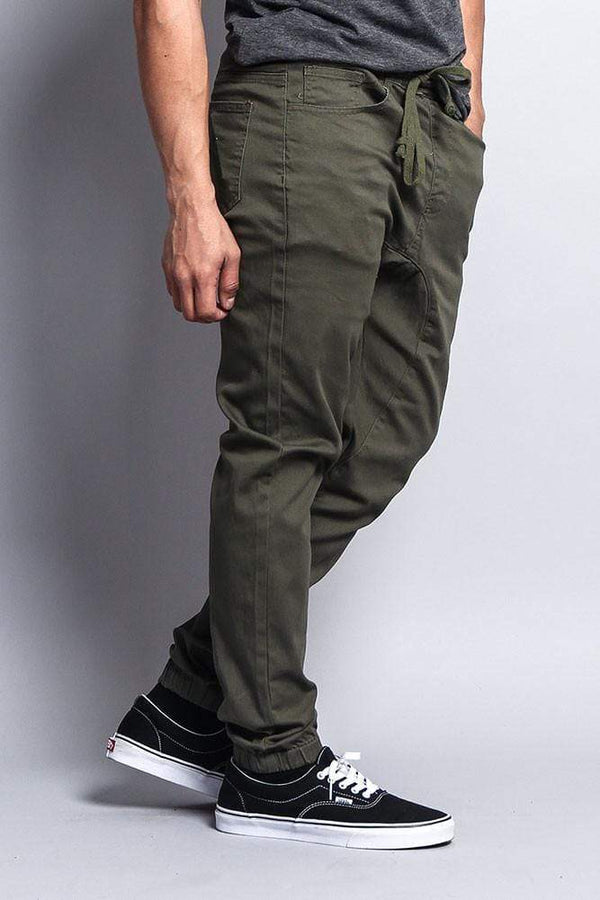 Men's Jogger Twill Pants - Olive - MEN BOTTOMS - NIGEL MARK