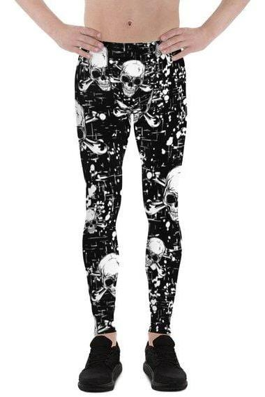 Mens Leggings - Black Skull Leggings - MEN BOTTOMS - NIGEL MARK