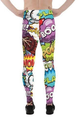 Mens Leggings - Pop Art Comic Book Designs - MEN BOTTOMS - NIGEL MARK