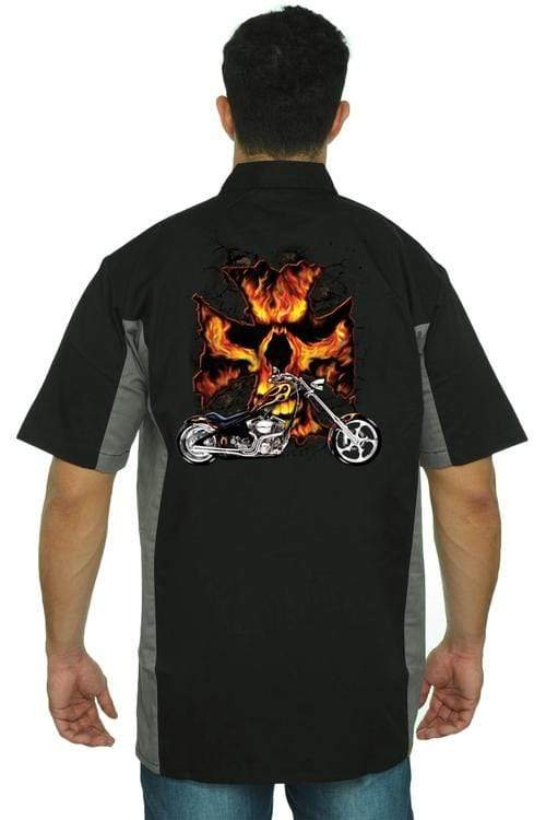 Men's Mechanic Work Shirt Motorcycle Flames Skull - MEN TOPS - NIGEL MARK