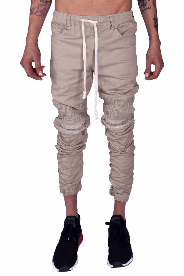 Men's Stacked Leg Joggers - Khaki - MEN BOTTOMS - NIGEL MARK