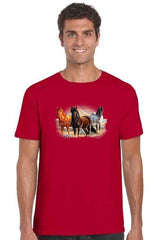 Men's T Shirt Three Horses Short Sleeve Tee - MEN TOPS - NIGEL MARK