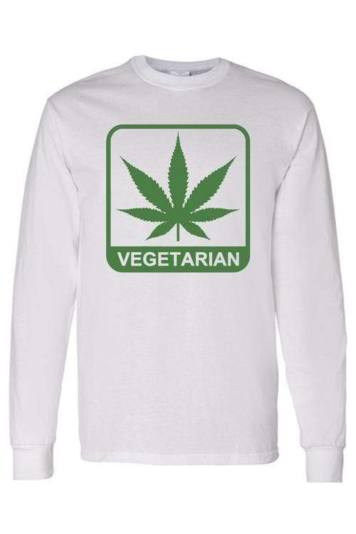"Men's/Unisex Funny ""Vegetarian"" Long Sleeve - MEN TOPS - NIGEL MARK"