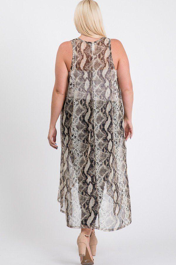 Mesh Sleeveless Long Vest - PLUS SWEATERS & CARDIGANS - NIGEL MARK