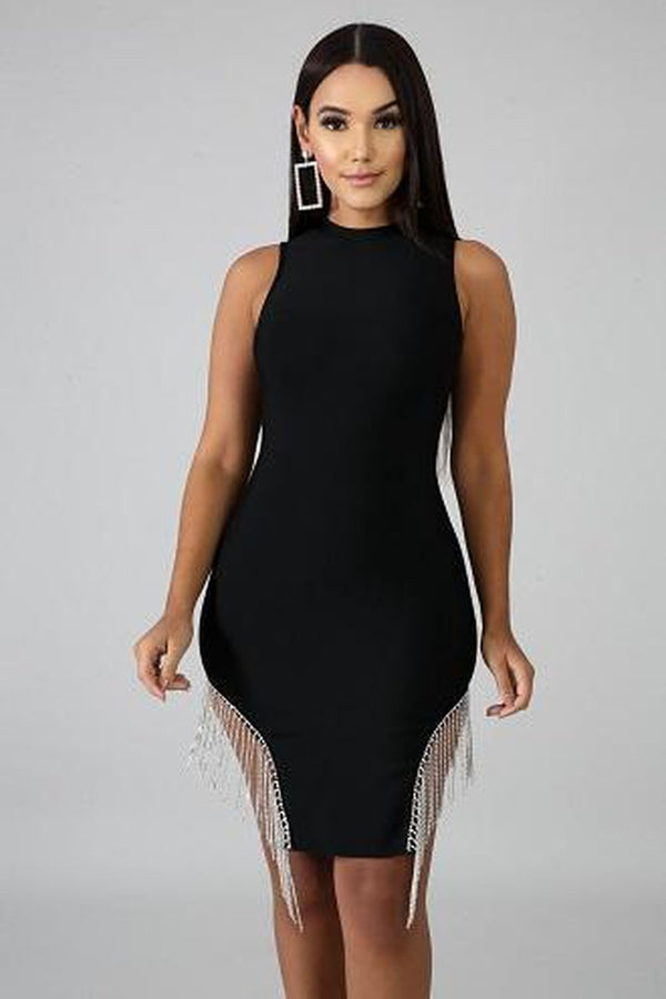 black fringe bottom mini dress