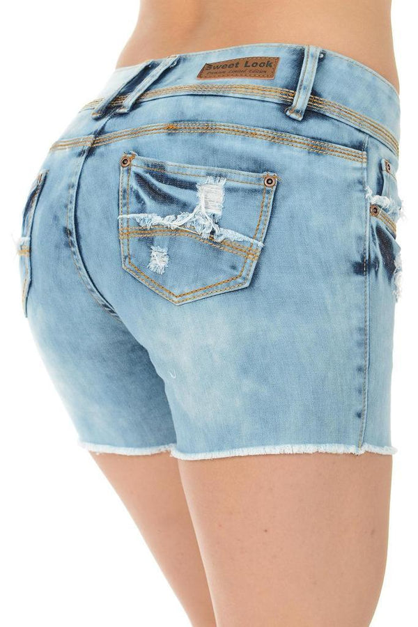 Mid Waist Discolored Shorts - WOMEN BOTTOMS - NIGEL MARK