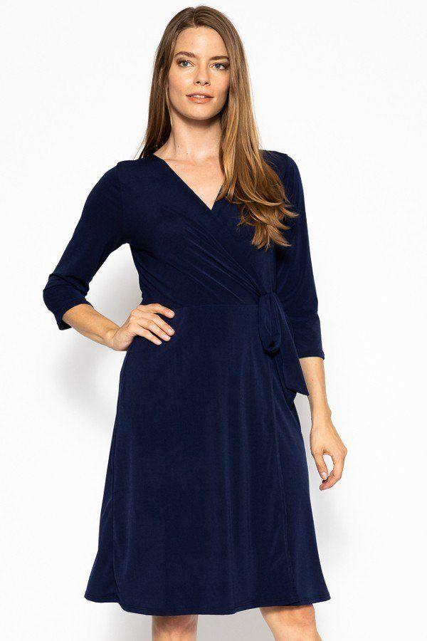 navy midi belted dress