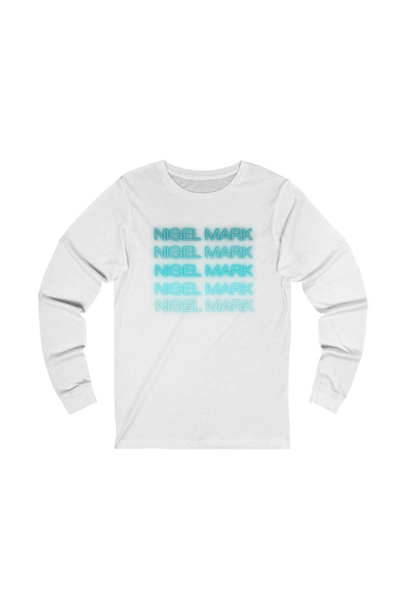 mint blue and white long sleeve tee