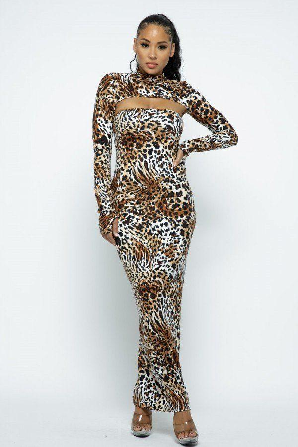 long sleeve animal print dress