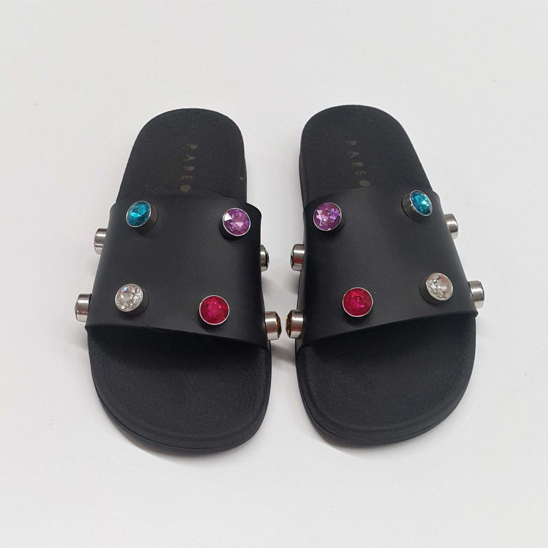 Multi Crystal Black Slides - WOMEN SHOES - NIGEL MARK