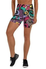 Music High Waist Yoga Shorts - BOTTOMS - NIGEL MARK
