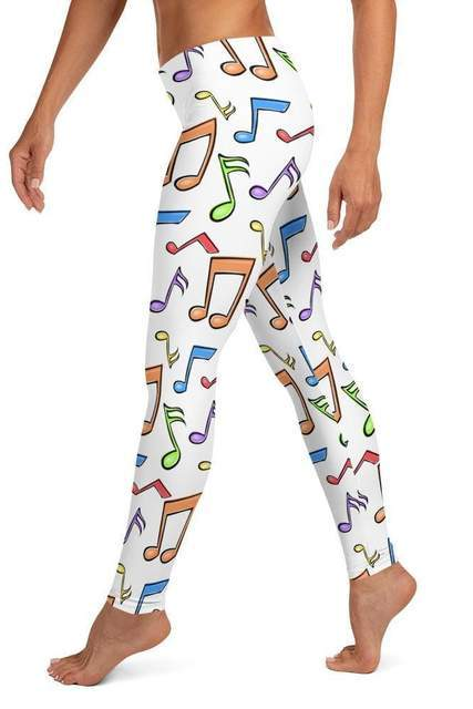 Musical Notes Seamless White Leggings - BOTTOMS - NIGEL MARK