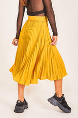 Mustard Asymmetric Pleated Skirt - BOTTOMS - NIGEL MARK