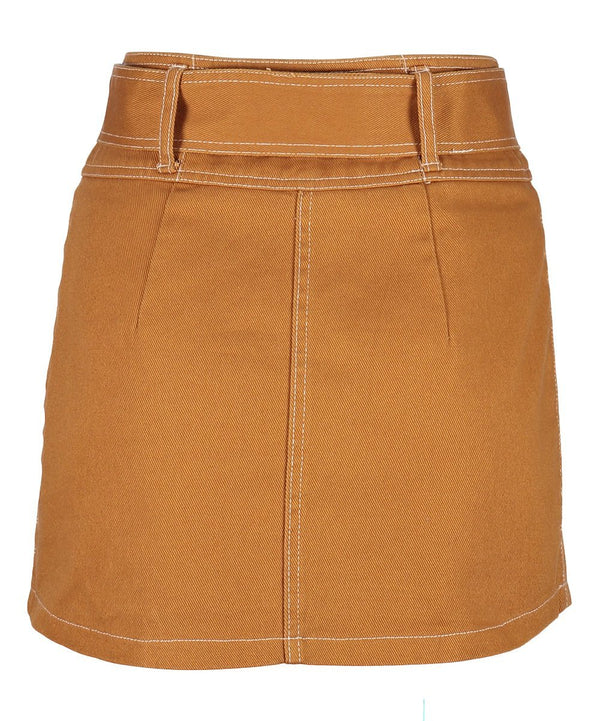 Mustard Yellow Mini Skirt - Women's Clothing - NIGEL MARK