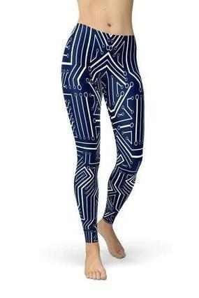 Navy Blue Circuit Leggings - BOTTOMS - NIGEL MARK