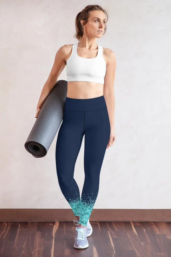 Navy Blue Glitter Leggings - PLUS ACTIVEWEAR - NIGEL MARK