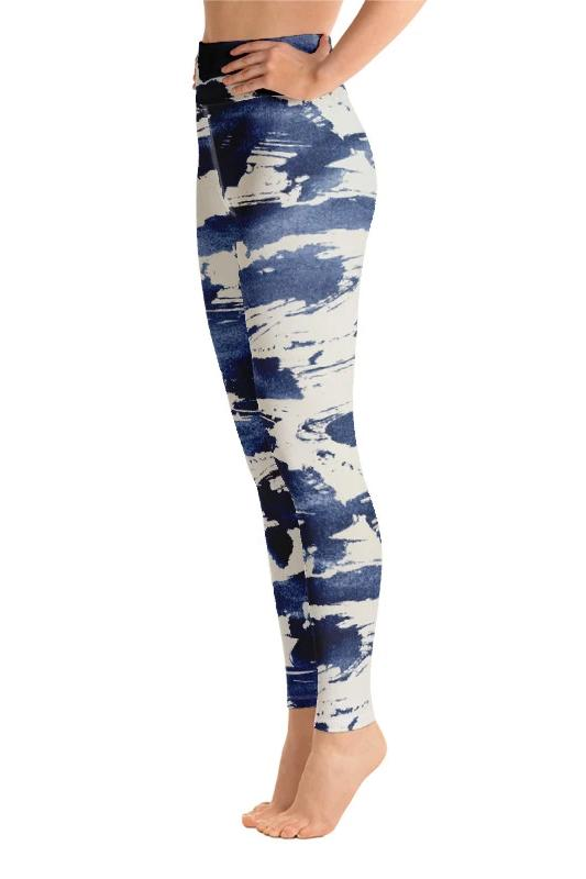 Navy Blue Gray Abstract Leggings - PLUS ACTIVEWEAR - NIGEL MARK