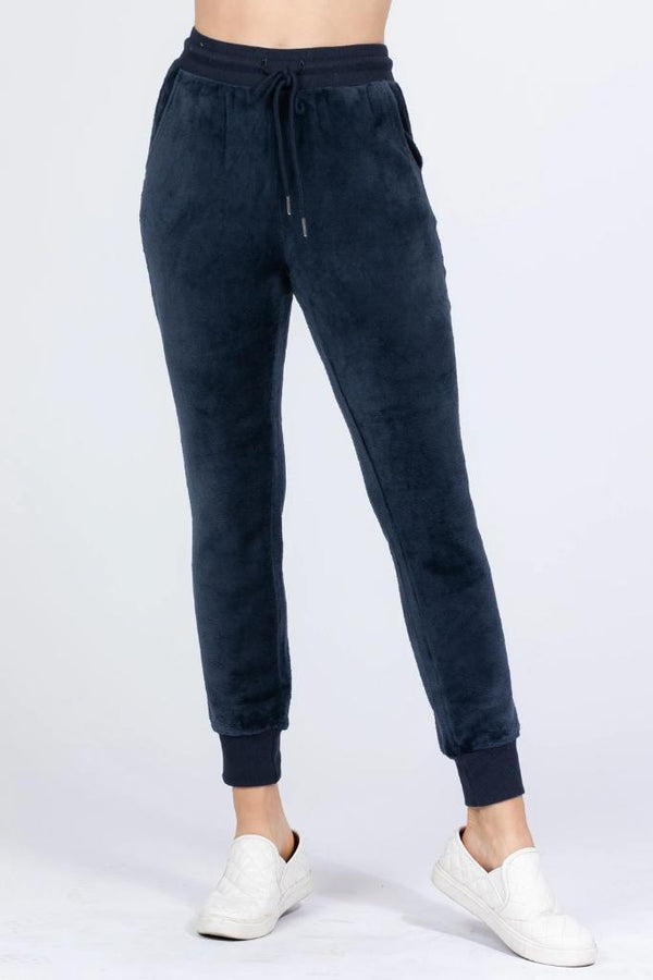 Navy Faux Fur Jogger Pants - WOMEN BOTTOMS - NIGEL MARK