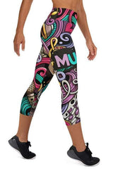 Neon Music Yoga Capri Leggings - BOTTOMS - NIGEL MARK