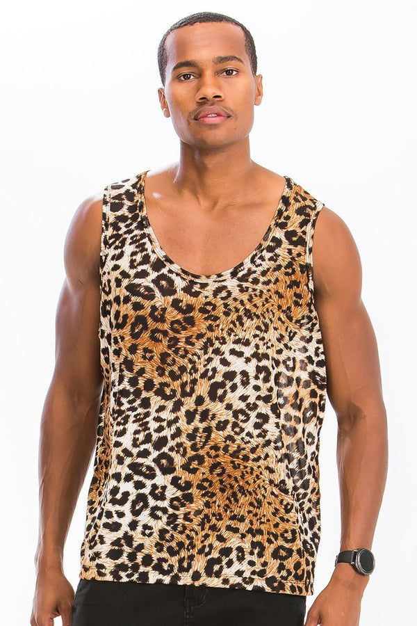 Neutral Leopard Spot Tank - Brown - Men's Clothing - NIGEL MARK