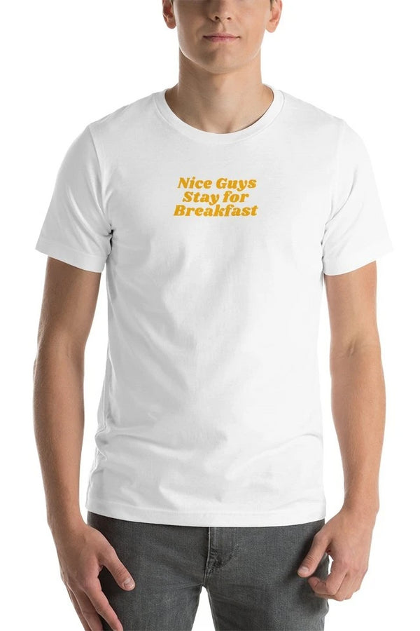 Nice Guys Stay For Breakfast White T-Shirt - Men's Clothing - NIGEL MARK