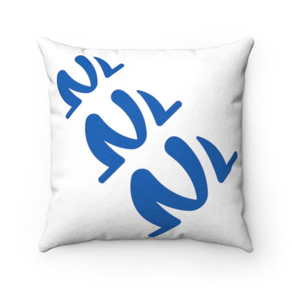 white and blue suede square pillow