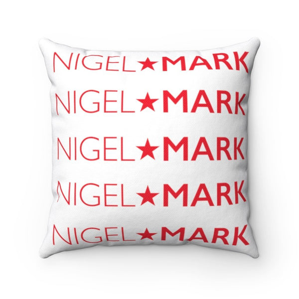 red logo on white square pillow