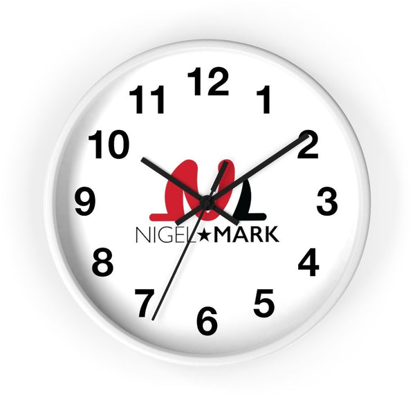 black on white wall clock