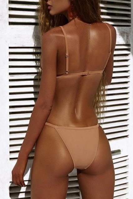 Nude Triangle Bikini Set - SWIMWEAR - NIGEL MARK