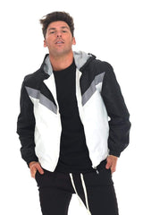 Nylon Track Jacket - Black / White - JACKETS & COATS - NIGEL MARK